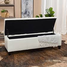White Leather Storage Ottoman Skyler White Leather Storage Ottoman Bench