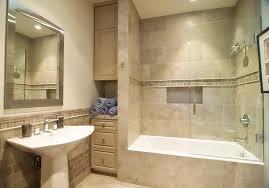 cream stained wooden storage rectangular ceramics bathtub