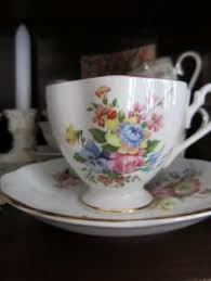1950s vintage queen anne english bone china teacup footed fruit