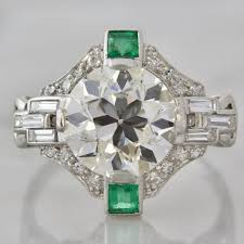 art deco emerald engagement ring art deco jewelry pinterest