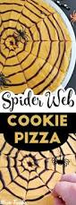 spider web cookie pizza with pumpkin spice frosting halloween