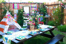 camping themed birthday party table setup birthday theme
