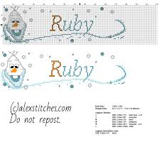cross stitch baby name ruby with olaf character from disney frozen