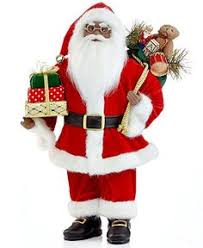 10 fabriche black santa claus with gift packages table top