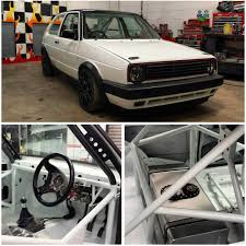 white volkswagen inside the mk2 golf is finished after a full restoration and respray