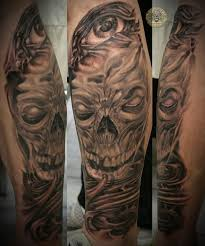biomechanical tattoo face 2 step horror bio skull eye by 2face tattoo on deviantart