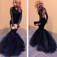 black mermaid formal dresses 2016 long sleeves prom dress floor