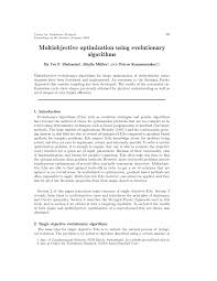 multiobjective optimization using evolutionary algorithms
