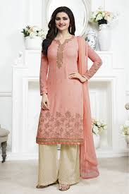 desai georgette palazzo pant suit in baby pink colour