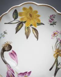 pair of spode porcelain botanical shell shape dishes