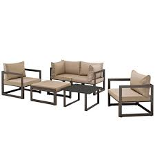 6 piece outdoor patio sectional sofa set brown mocha by modway