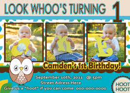 Birthday Invitation Cards For Kids First Birthday Owl Invite Boy 1st Birthday Party Invitation Look Whoos 1 Owl