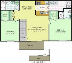 House Layout Drawing by 2 Bedroom House Plans Open Floor Plan Flat View On Half Plot