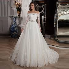 wedding dress 2015 off the shoulder a line lace long sleeve tulle