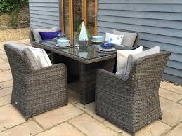Grey Rattan Dining Table Baby Royal   Metre Oval Grey Rattan - Dining table with rattan chairs