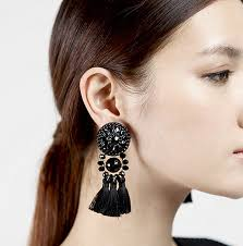 bohemia retro black tassel earrings beldacsr 13577 rm19
