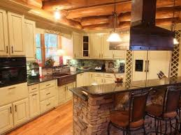 Log Cabin Kitchen Cabinets by Breathtaking Log Cabin Kitchen With Raised Bar Countertop On
