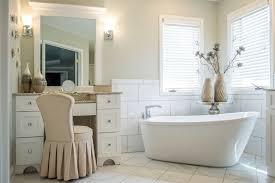 Free Standing Makeup Vanity Serene Bathroom With Freestanding Tub Robin U0027s Nest Interiors
