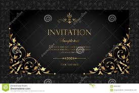 Invitation Card Design Invitation Card Design Luxury Black And Gold Vintage Style Stock