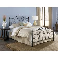 Iron Bed Set Bronze Iron Accent Single Bed Frame With White Valance And Beige