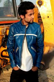 cool biker jackets blue leather biker jacket elegantly sporty with cool look my