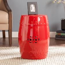 Ceramic Accent Table Poppy Red Ceramic Indoor Outdoor Accent Table Stool