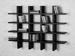 Woodworking Shelves Design by Black Wooden Crossed Rectangle Books Shelves Placed On The Wall