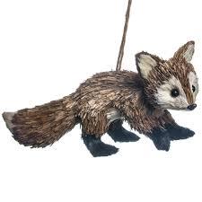 sisal fox ornament woodland christmas cracker barrel old