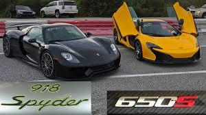 porsche 918 spyder runs 9 8 145 mph vs mclaren 650s spider drag