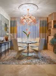 Ceiling Track Curtains Sumptuous Horizontal Striped Curtains In Dining Room Contemporary