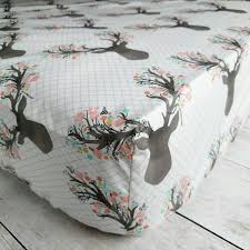Deer Nursery Bedding Stag With Flowers Fitted Crib Sheet Woodland Deer Crib Sheet