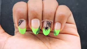 neon green french tip with spiderweb nail design youtube
