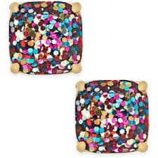 glitter stud earrings kate spade new york gold tone small square glitter stud earr