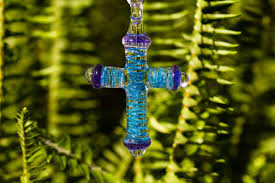 large ribbon large ribbon glass cross with infused cremation ash by misha