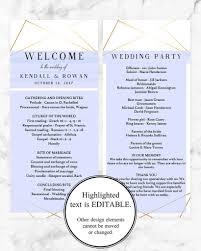 wedding ceremony bulletin template geometric wedding program template printable wedding ceremony