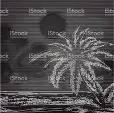 chalk palm tree and ocean sketch stock vector art 618648390 istock