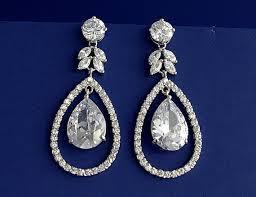 Cubic Zirconia Chandelier Earrings Dramatic Cubic Zirconia Drop Earrings With Sterling Silver Studs