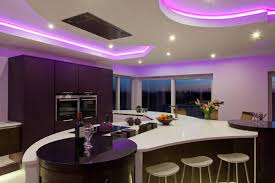Fantastic Kitchen Designs Fantastic Kitchen Design Idea With Purple Lights And Cream