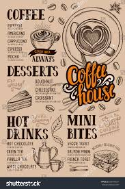 coffee food menu restaurant cafe design stock vector 606348557