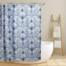 Blue Damask Shower Curtain Miley 70 In Blue Scroll Damask Canvas Shower Curtain Ls Sc028079