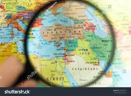 Syria On World Map by Syria On World Map Magnifying Glass Stock Photo 550364371