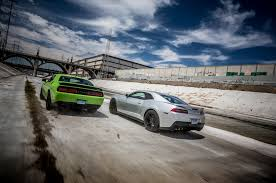 chevy camaro vs dodge charger dyno mighty challenger srt hellcat camaro zl1 hit the rollers