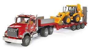 bruder fire truck nz trucking bruder mack granite low loader with jcb backhoe loader
