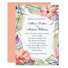 Wedding Announcement Templates Tropical Wedding Invitations U0026 Announcements Zazzle