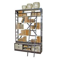 Reclaimed Wood And Metal Bookcase Industrial Iron Library Bookcase U0026 Ladder Reclaimed Board