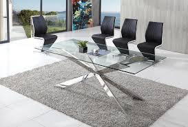 Spider Glass Dining Table With Angel Dining Chairs Modenza Furniture - Contemporary glass dining table and chairs