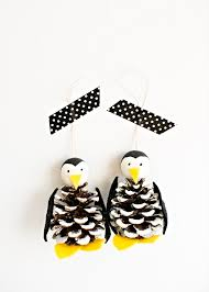 hello wonderful pine cone penguin ornament craft