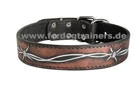 designer hundehalsband leather collar boxer with barbed wire design 60 0