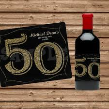 50th birthday favors glitter stripes wine bottle from partyprintexpress on
