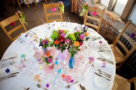 wedding flowers jam jars an eclectic colourful diy wedding andy rock n roll